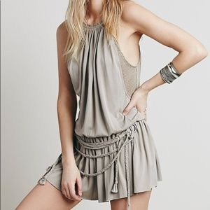 Free People Braided & Draped Short Jersey Romper S